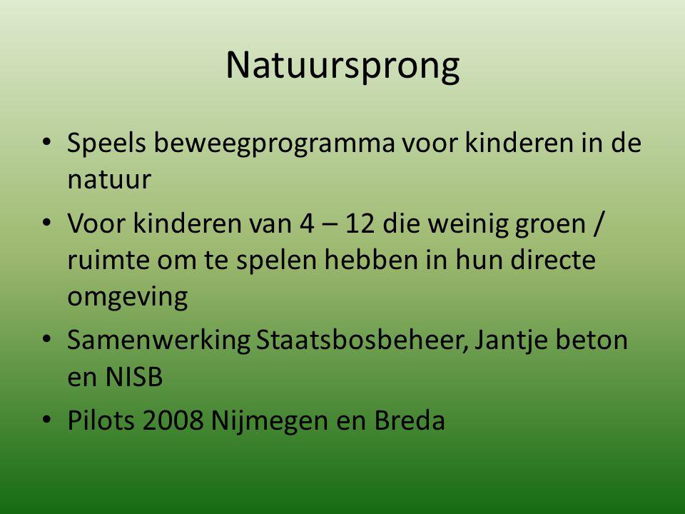 Natuursprong Speels beweegprogramma voor kinderen in de natuur Voor kinderen van 4 – 12 die weinig groen / ruimte om te spelen hebben in hun directe o