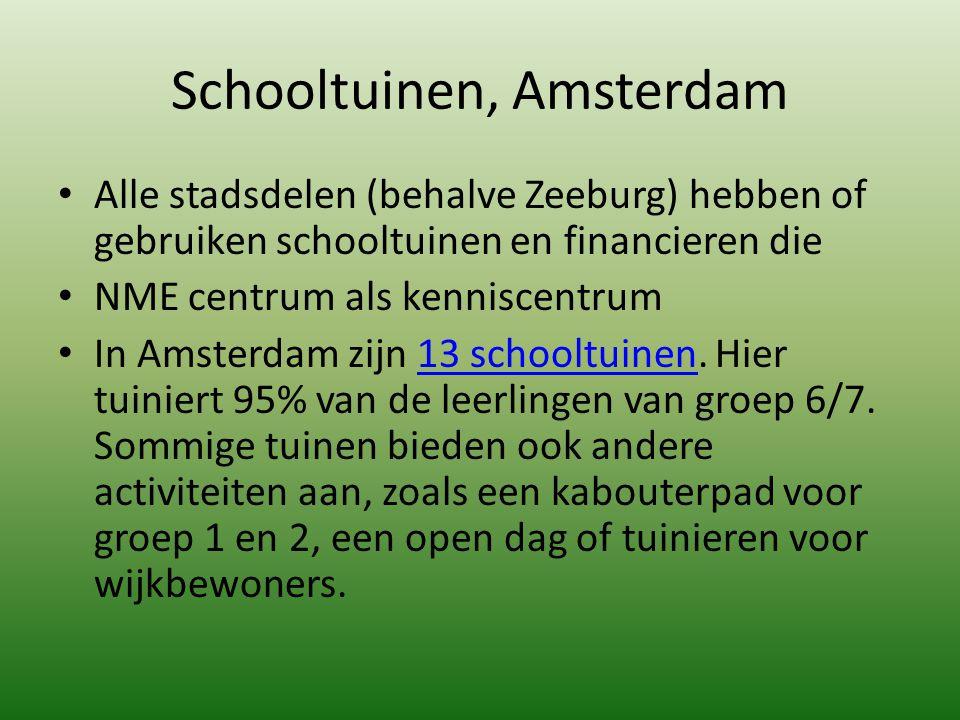 Schooltuinen, Amsterdam Alle stadsdelen (behalve Zeeburg) hebben of gebruiken schooltuinen en financieren die NME centrum als kenniscentrum In Amsterd