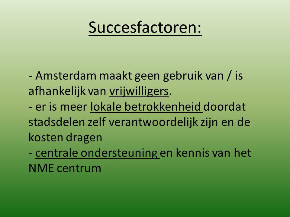 Succesfactoren: - Amsterdam maakt geen gebruik van / is afhankelijk van vrijwilligers. - er is meer lokale betrokkenheid doordat stadsdelen zelf veran