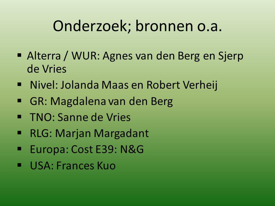 Onderzoek; bronnen o.a.  Alterra / WUR: Agnes van den Berg en Sjerp de Vries  Nivel: Jolanda Maas en Robert Verheij  GR: Magdalena van den Berg  T