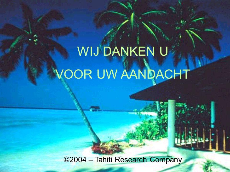 WIJ DANKEN U VOOR UW AANDACHT ©2004 – Tahiti Research Company