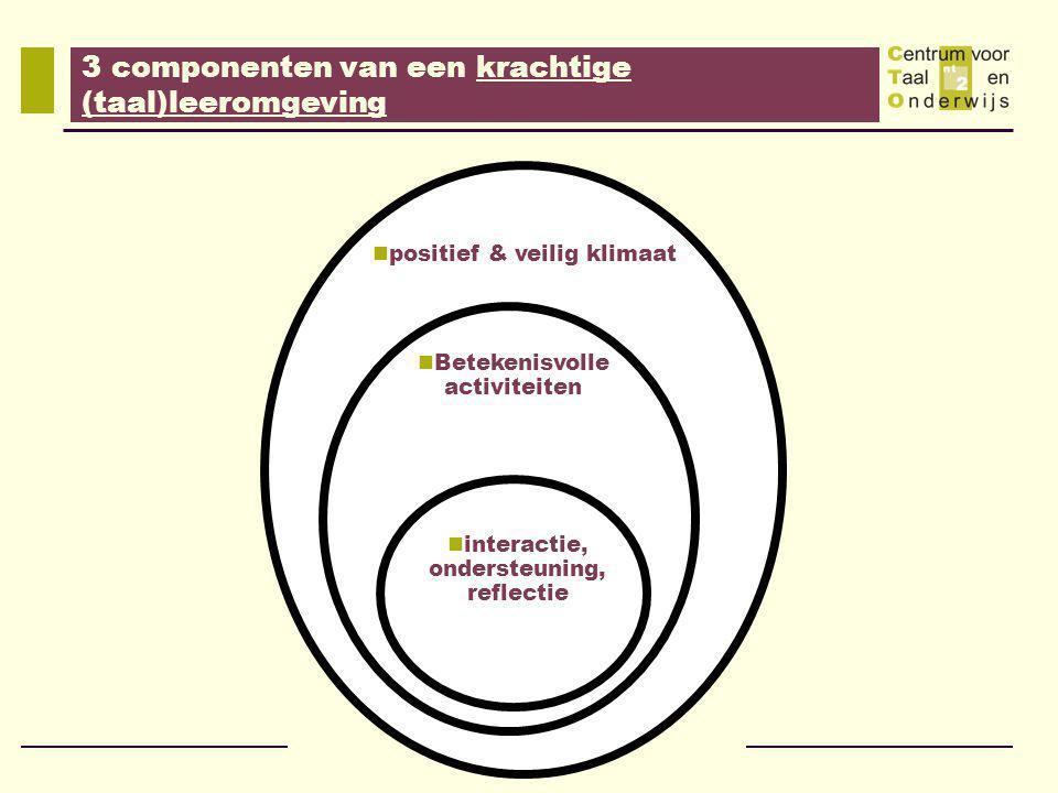 positief & veilig klimaat Betekenisvolle activiteiten interactie, ondersteuning, reflectie 3 componenten van een krachtige (taal)leeromgeving