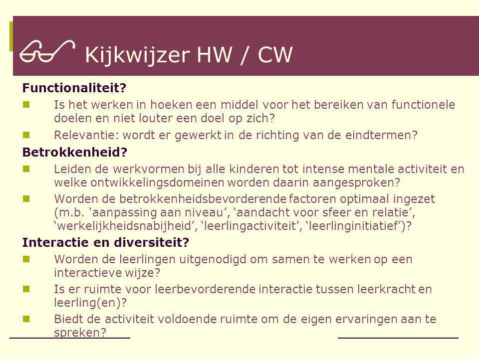  Kijkwijzer HW / CW Functionaliteit.