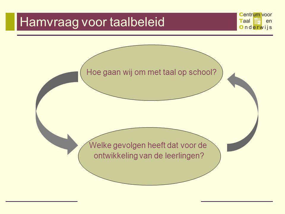 Hamvraag voor taalbeleid Hoe gaan wij om met taal op school.