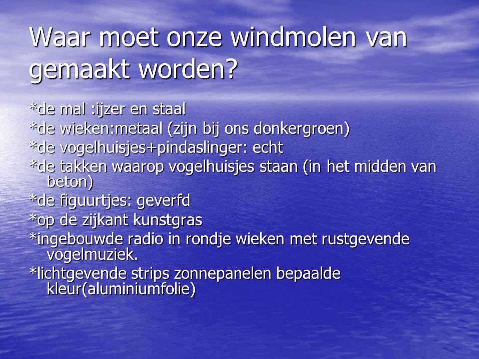 inhoudsopgaven * waar moet onze wind molen van gemaakt worden.