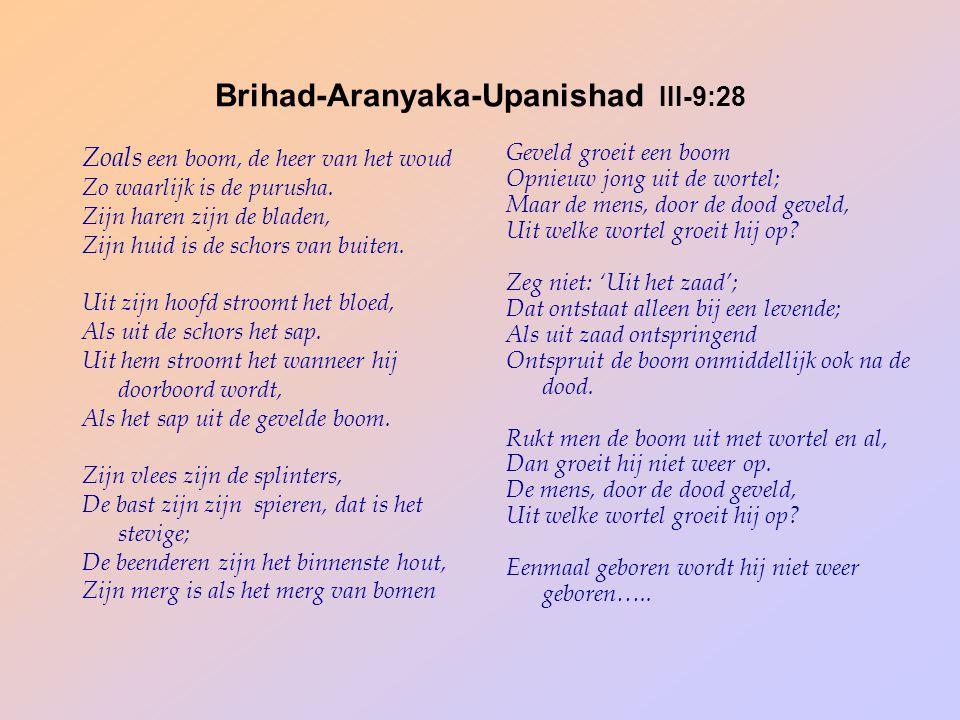 Brihad-Aranyaka-Upanishad III-9:28 Zoals een boom, de heer van het woud Zo waarlijk is de purusha. Zijn haren zijn de bladen, Zijn huid is de schors v
