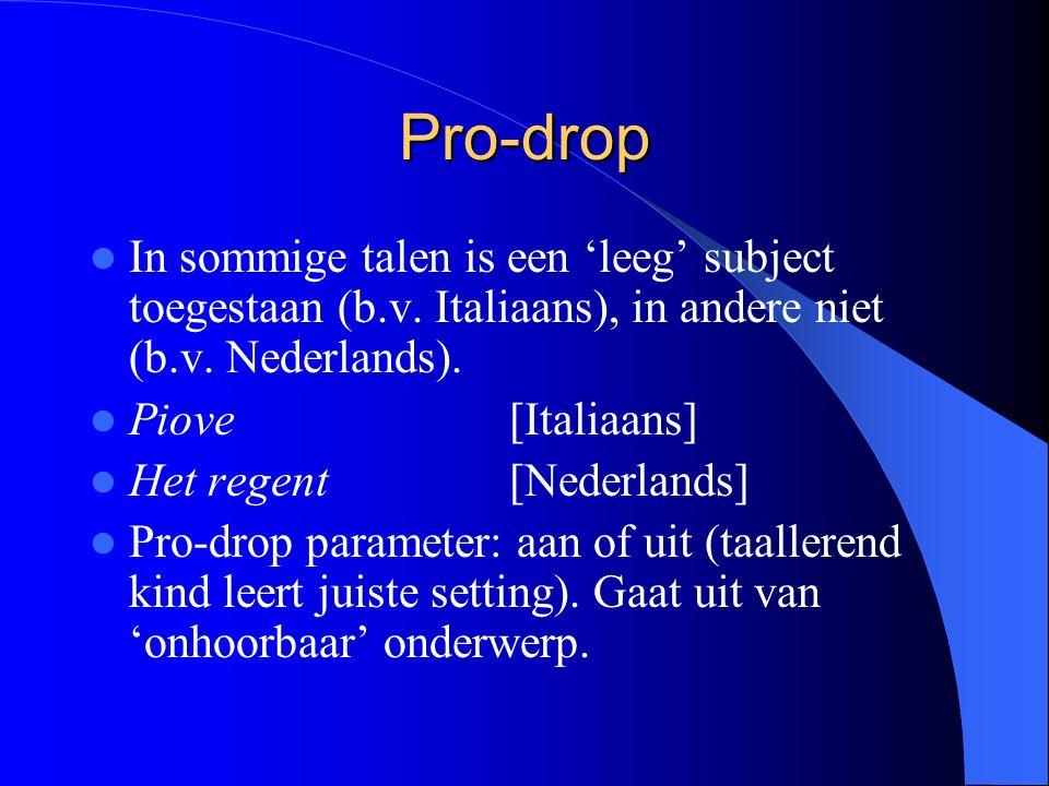 Pro-drop In sommige talen is een 'leeg' subject toegestaan (b.v. Italiaans), in andere niet (b.v. Nederlands). Piove[Italiaans] Het regent[Nederlands]