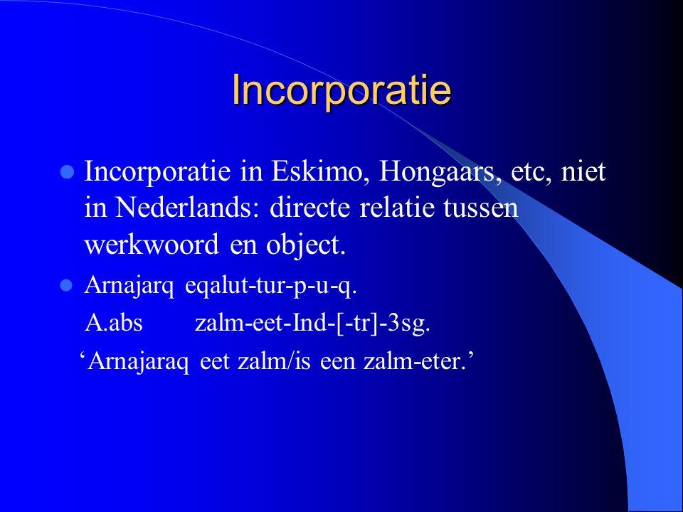 Incorporatie Incorporatie in Eskimo, Hongaars, etc, niet in Nederlands: directe relatie tussen werkwoord en object. Arnajarq eqalut-tur-p-u-q. A.absza