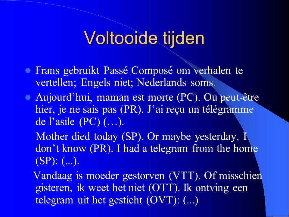 Voltooide tijden Frans gebruikt Passé Composé om verhalen te vertellen; Engels niet; Nederlands soms. Aujourd'hui, maman est morte (PC). Ou peut-être