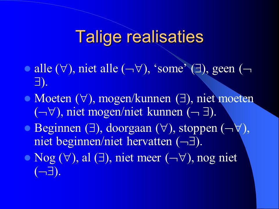Talige realisaties alle (  ), niet alle (  ), 'some' (  ), geen (   ). Moeten (  ), mogen/kunnen (  ), niet moeten (  ), niet mogen/niet kun