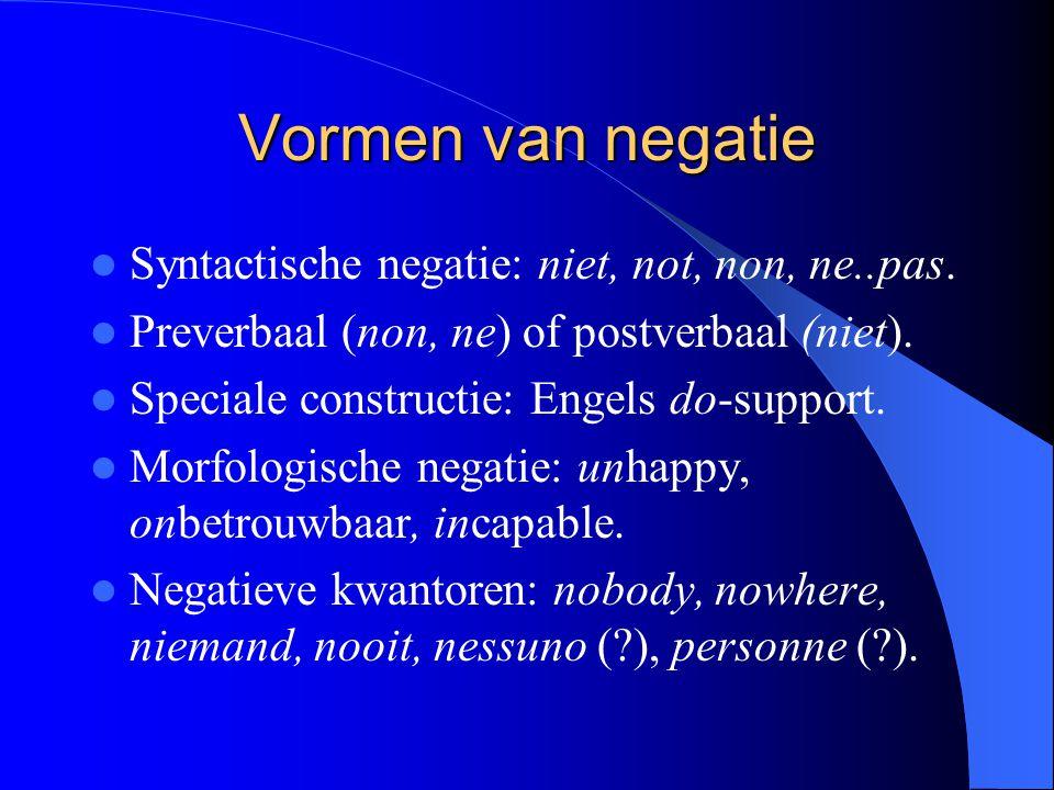 Vormen van negatie Syntactische negatie: niet, not, non, ne..pas. Preverbaal (non, ne) of postverbaal (niet). Speciale constructie: Engels do-support.