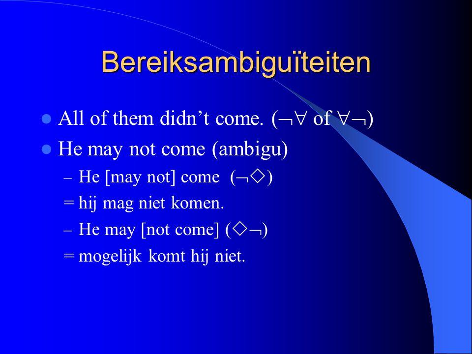 Bereiksambiguïteiten All of them didn't come. (  of  ) He may not come (ambigu) – He [may not] come (   ) = hij mag niet komen. – He may [not co