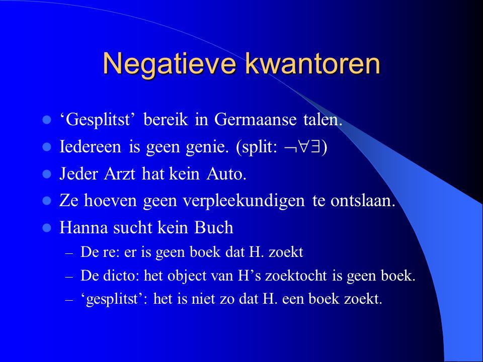 Negatieve kwantoren 'Gesplitst' bereik in Germaanse talen. Iedereen is geen genie. (split:  ) Jeder Arzt hat kein Auto. Ze hoeven geen verpleekundi