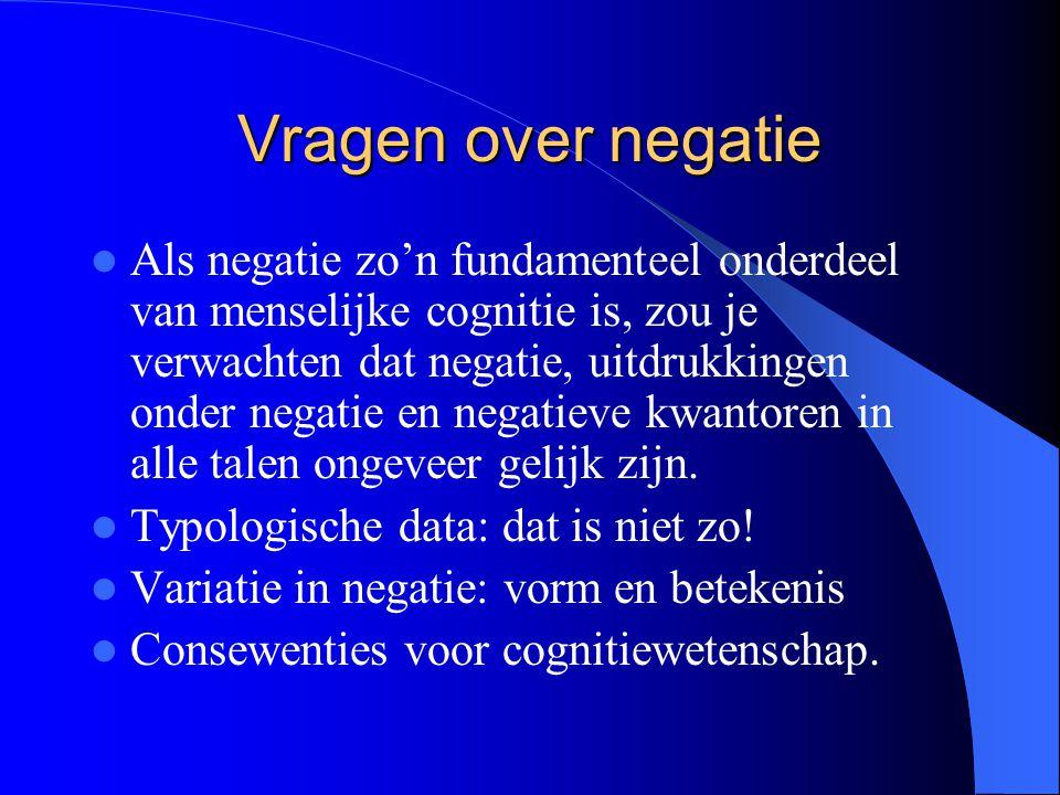 Vragen over negatie Als negatie zo'n fundamenteel onderdeel van menselijke cognitie is, zou je verwachten dat negatie, uitdrukkingen onder negatie en