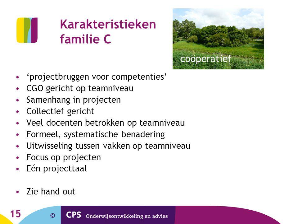 15 Karakteristieken familie C 'projectbruggen voor competenties' CGO gericht op teamniveau Samenhang in projecten Collectief gericht Veel docenten bet
