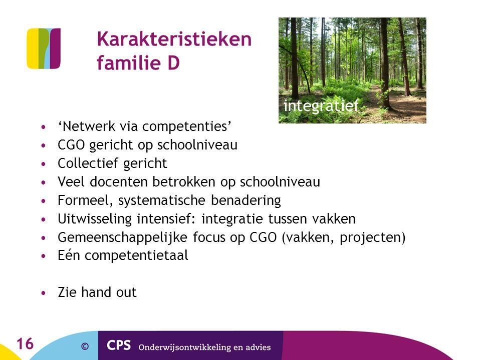 16 Karakteristieken familie D 'Netwerk via competenties' CGO gericht op schoolniveau Collectief gericht Veel docenten betrokken op schoolniveau Formee