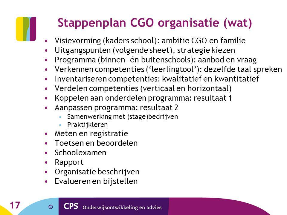 17 Stappenplan CGO organisatie (wat) Visievorming (kaders school): ambitie CGO en familie Uitgangspunten (volgende sheet), strategie kiezen Programma