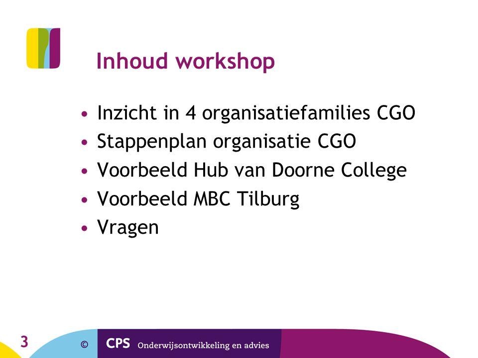 3 Inhoud workshop Inzicht in 4 organisatiefamilies CGO Stappenplan organisatie CGO Voorbeeld Hub van Doorne College Voorbeeld MBC Tilburg Vragen