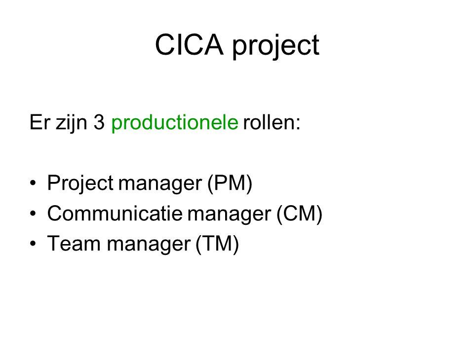 CICA project Iedere student kiest: 1 inhoudelijke rol en 1 productionele rol