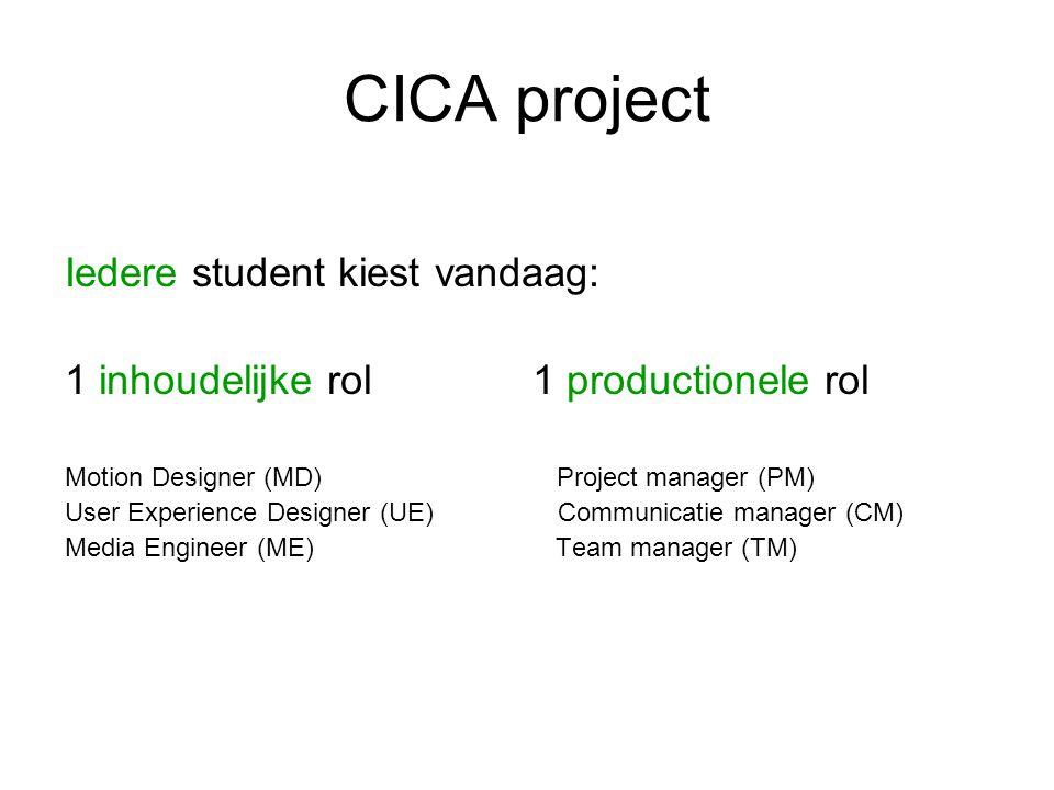 CICA project Bij elke domein competentie horen ruim geformuleerde indicatoren Elke student stelt samen met zijn inhoudelijk senior consultant een leercontract op waarin de algemeen geformuleerde indicatoren nader worden ingevuld.