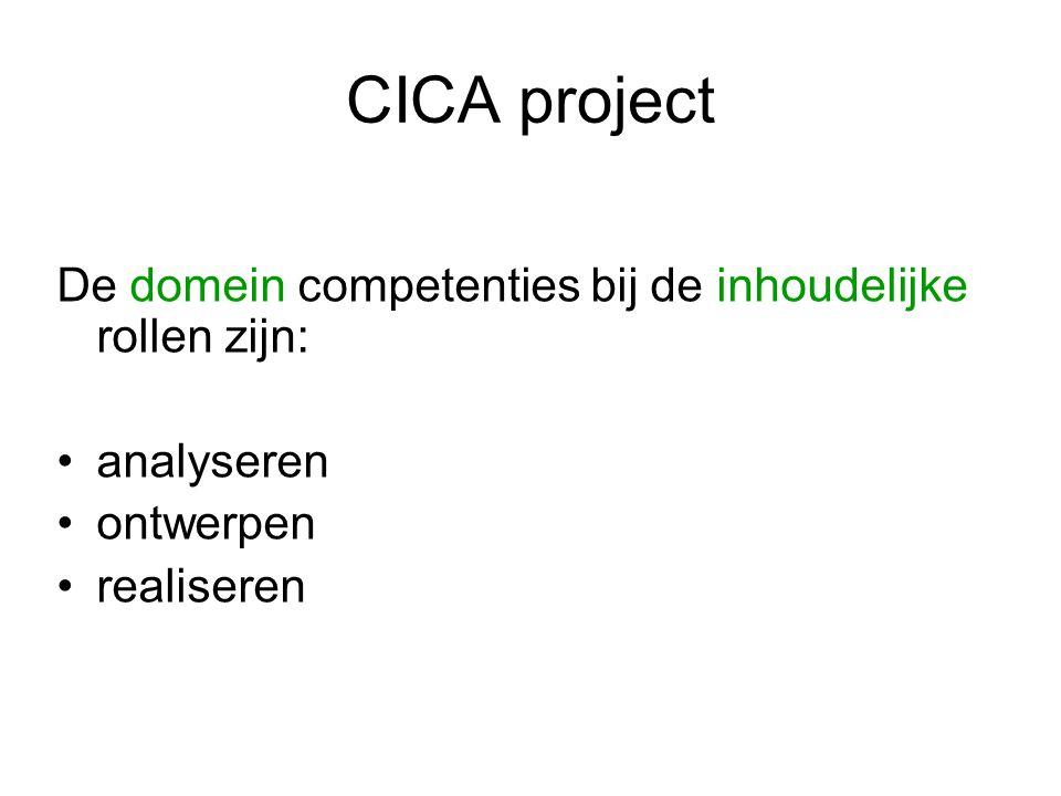 CICA project Iedere student werkt in zijn inhoudelijke rol vanaf het begin aan alle domein competenties op niveau 3, dus aan analyseren, ontwerpen en realiseren In de loop van het project kies je twee competenties om aan te tonen in het assessment