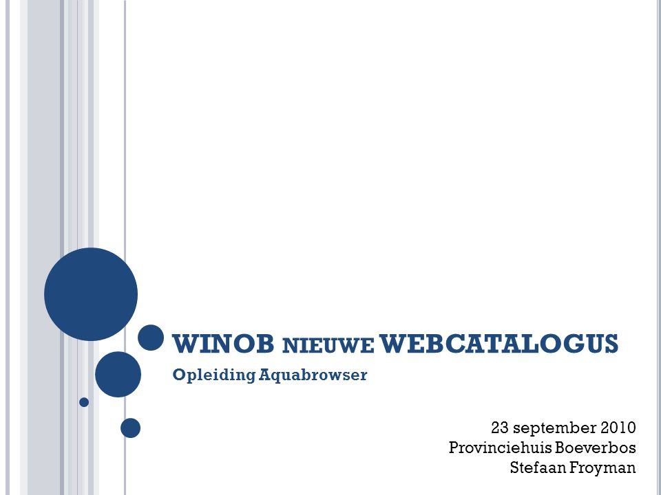 WINOB NIEUWE WEBCATALOGUS Opleiding Aquabrowser 23 september 2010 Provinciehuis Boeverbos Stefaan Froyman
