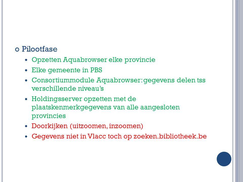 Timing West-Vlaanderen: S EPTEMBER : 6 Opleidingen voor alle personeel West-Vlaamse PBS- bibliotheken Intern gebruik in proefbibliotheken Laatste loodjes door WINOB en Aquabrowser (tot eind dec.) 30 SEPTEMBER : Infomoment sector op Denk- en Discussiedag BIBNET 1 OKTOBER : Live in alle West-Vlaamse PBS-bibliotheken V ANAF JANUARI 2011: Uitrol andere provincies dan Antwerpen en West-Vlaanderen
