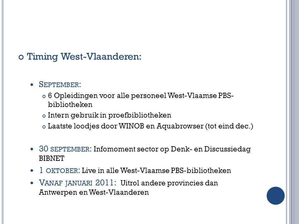 Timing West-Vlaanderen: S EPTEMBER : 6 Opleidingen voor alle personeel West-Vlaamse PBS- bibliotheken Intern gebruik in proefbibliotheken Laatste lood