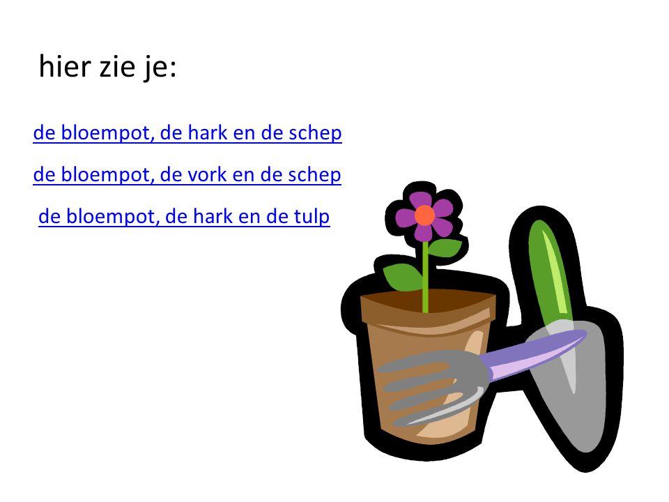 hier zie je: de bloempot, de hark en de schep de bloempot, de vork en de schep de bloempot, de hark en de tulp