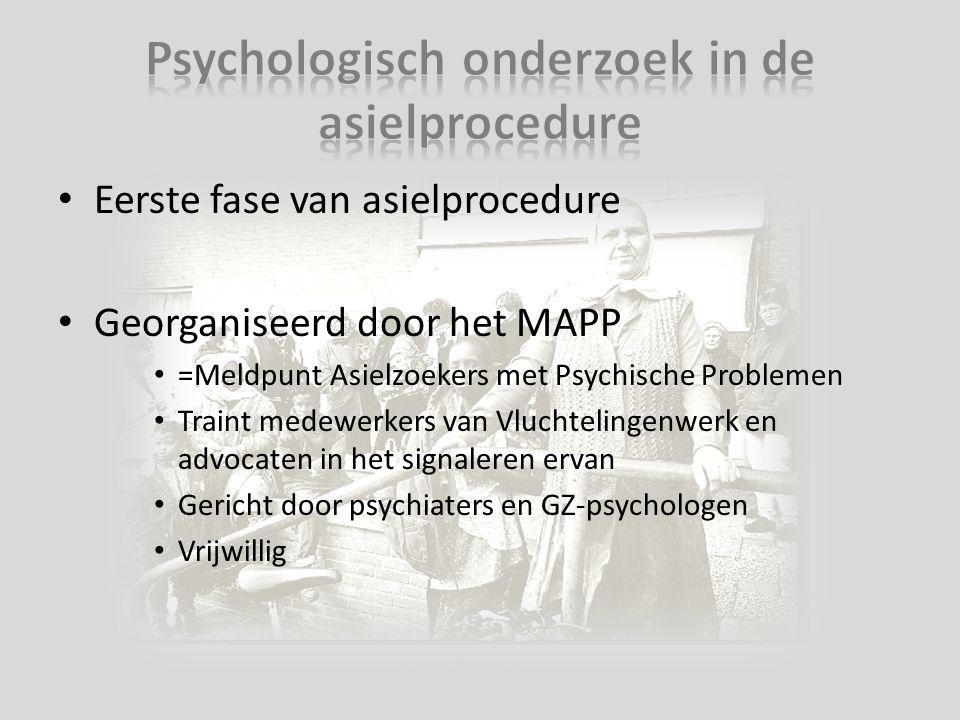 Eerste fase van asielprocedure Georganiseerd door het MAPP =Meldpunt Asielzoekers met Psychische Problemen Traint medewerkers van Vluchtelingenwerk en