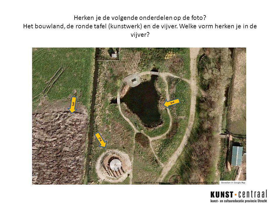 Herken je de volgende onderdelen op de foto.Het bouwland, de ronde tafel (kunstwerk) en de vijver.