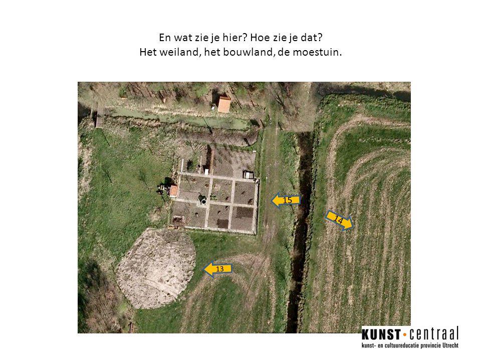 En wat zie je hier? Hoe zie je dat? Het weiland, het bouwland, de moestuin. 14 15 13