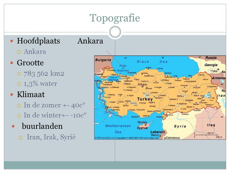 Topografie Hoofdplaats Ankara  Ankara Grootte  783 562 km2  1,3% water Klimaat  In de zomer +- 40c°  In de winter+- -10c° buurlanden  Iran, Irak, Syrië