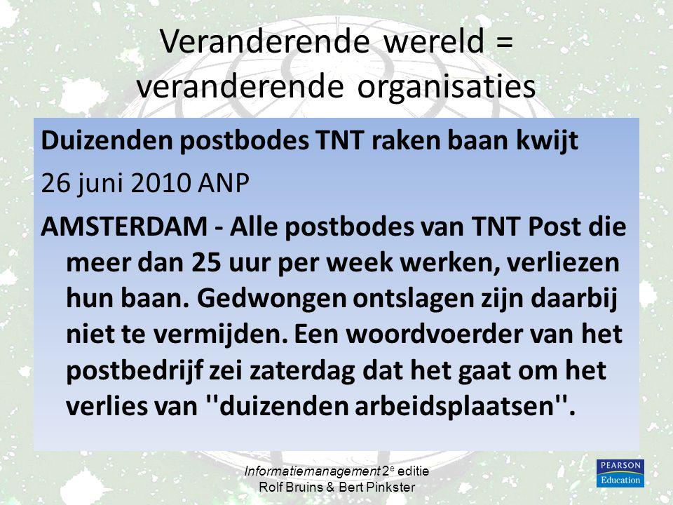 Veranderende wereld = veranderende organisaties Duizenden postbodes TNT raken baan kwijt 26 juni 2010 ANP AMSTERDAM - Alle postbodes van TNT Post die