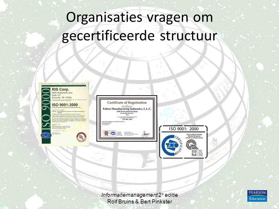Organisaties vragen om gecertificeerde structuur Informatiemanagement 2 e editie Rolf Bruins & Bert Pinkster
