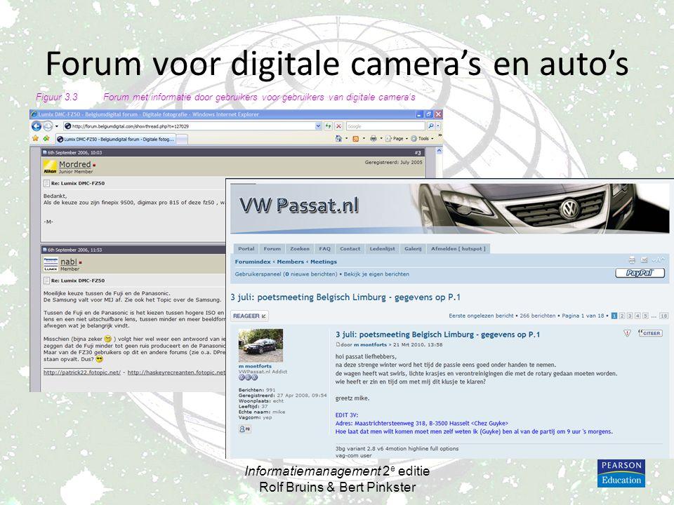 Forum voor digitale camera's en auto's Informatiemanagement 2 e editie Rolf Bruins & Bert Pinkster Figuur 3.3Forum met informatie door gebruikers voor
