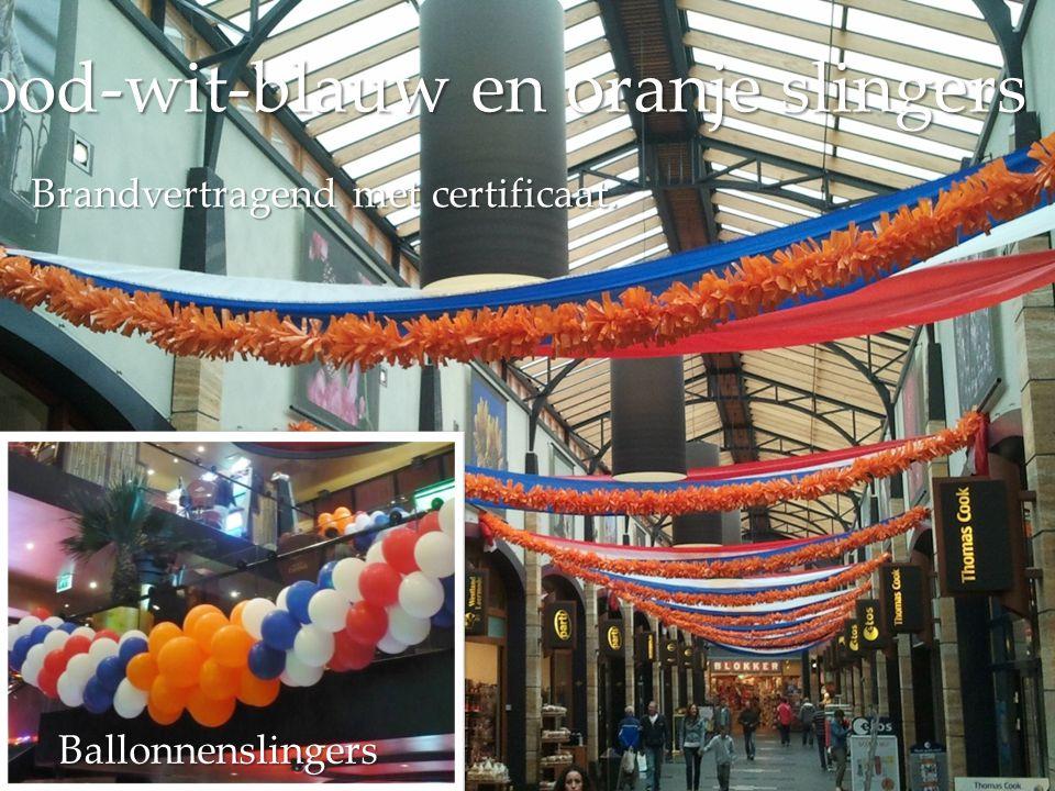 Rood-wit-blauw en oranje slingers Ballonnenslingers Brandvertragend met certificaat.