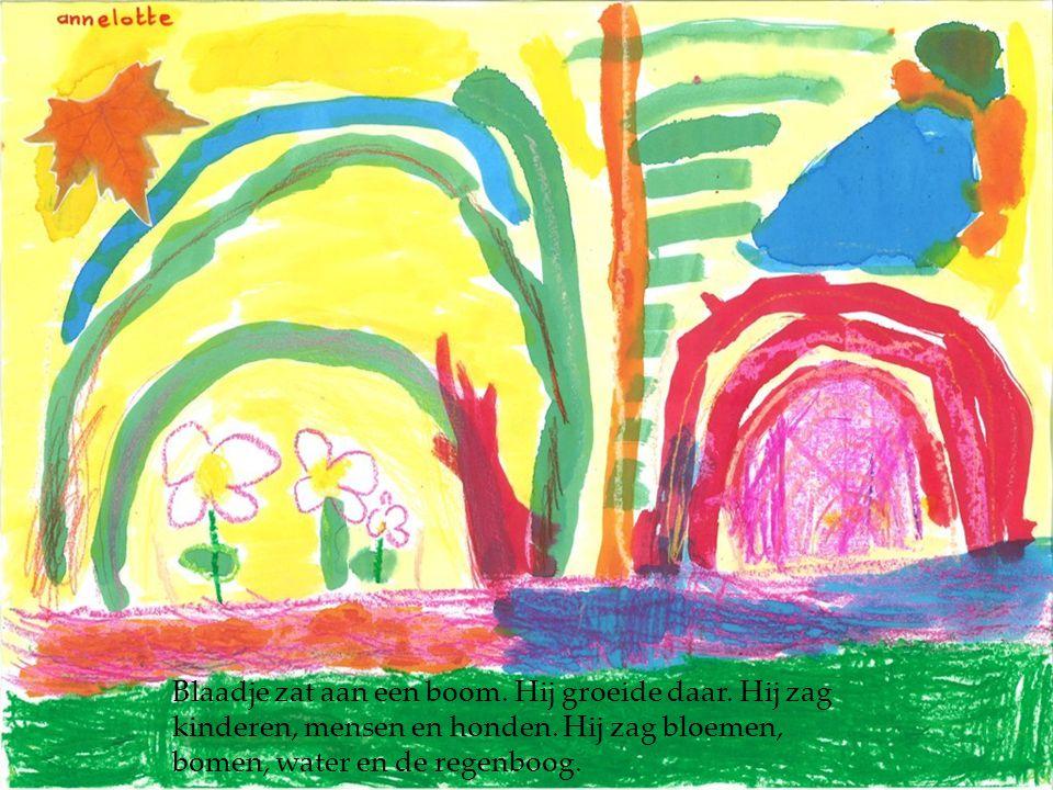 Blaadje zat aan een boom. Hij groeide daar. Hij zag kinderen, mensen en honden. Hij zag bloemen, bomen, water en de regenboog.