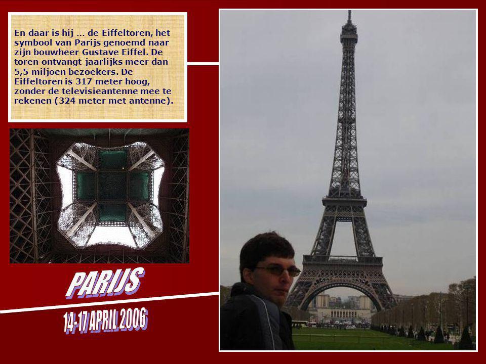 ZATERDAG 15 APRIL 2006 Bezocht gebied = de rode zone Parcours boottocht = rode lijn Agenda 9u Ontbijt in hotel ''Le Vieux Saule'' 10u Verplaatsing met metro naar l' ecole militaire 10u20Wandeling door ''Champs des marches'' met vredesmonument 11u Eiffeltoren 12u15 Inschepen in de buurt van de Eiffeltoren voor een boottocht en diner op de Seine met Bateau Parisiens 14u15 Wandeling van de Eiffeltoren naar de Arc De Triomphe en Champs Elysees 14u45 Bezoek Arc De Triomphe 15u30 Verplaatsing met metro naar La Defense 15u50 Bezoek ''La grande arche'' 16u50 Verplaatsing met metro naar Champs Elysees – bezoek winkels 18u30 Avondmaal in ''Planet Holywood op Champs Elysees