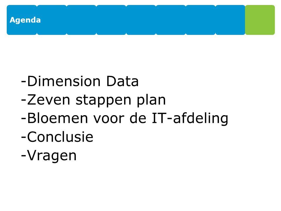 Agenda -Dimension Data -Zeven stappen plan -Bloemen voor de IT-afdeling -Conclusie -Vragen 2