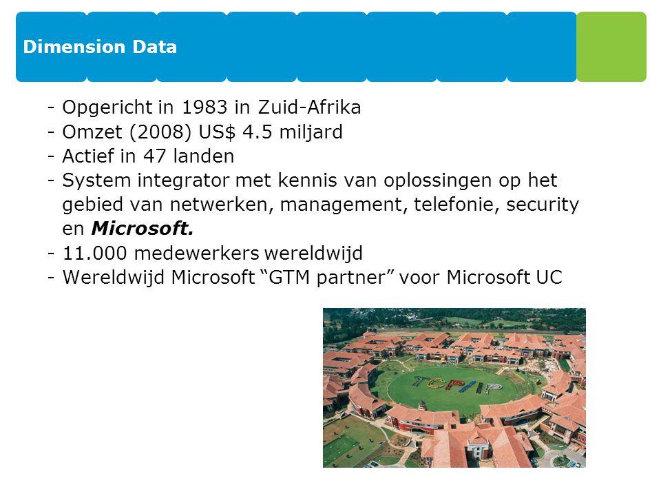 Dimension Data -Opgericht in 1983 in Zuid-Afrika -Omzet (2008) US$ 4.5 miljard -Actief in 47 landen -System integrator met kennis van oplossingen op het gebied van netwerken, management, telefonie, security en Microsoft.