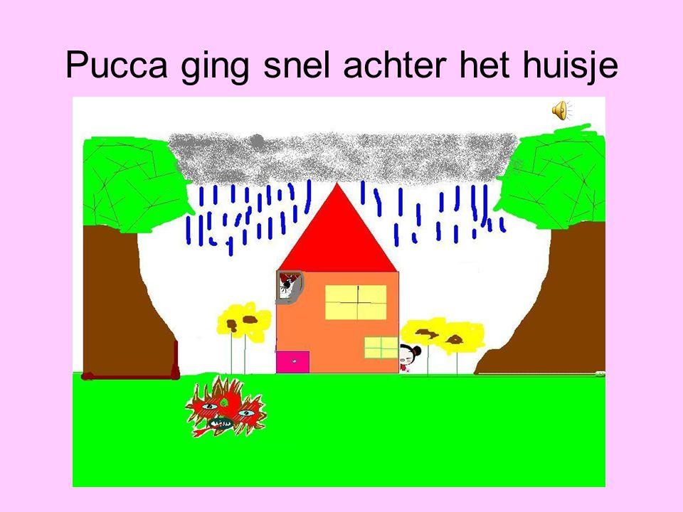 Pucca ging snel achter het huisje