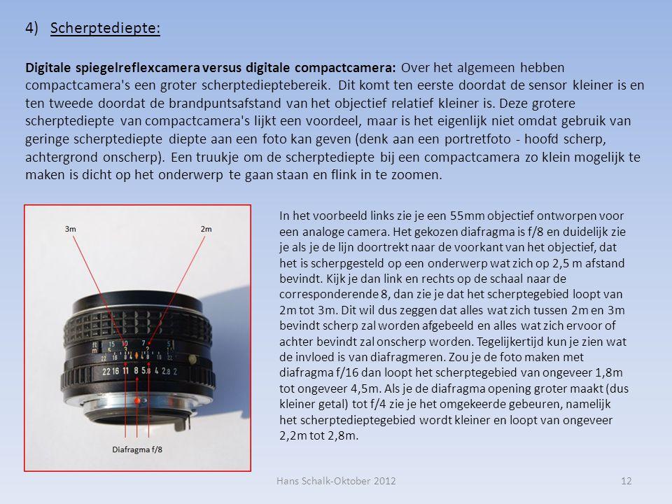 12 4)Scherptediepte: Digitale spiegelreflexcamera versus digitale compactcamera: Over het algemeen hebben compactcamera s een groter scherptedieptebereik.