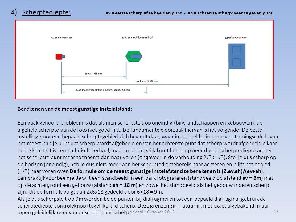 13 4)Scherptediepte: av = eerste scherp af te beelden punt - ah = achterste scherp weer te geven punt Berekenen van de meest gunstige instelafstand: E