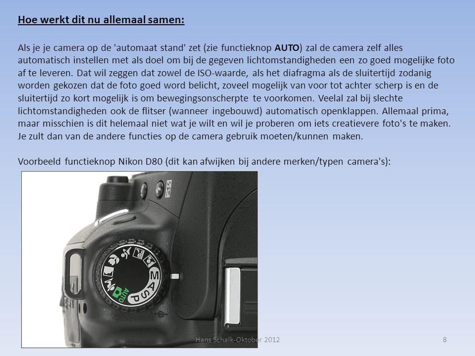 8 Hoe werkt dit nu allemaal samen: Als je je camera op de automaat stand zet (zie functieknop AUTO) zal de camera zelf alles automatisch instellen met als doel om bij de gegeven lichtomstandigheden een zo goed mogelijke foto af te leveren.