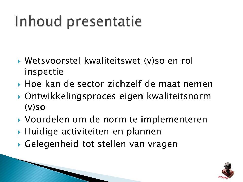  Wetsvoorstel kwaliteitswet (v)so en rol inspectie  Hoe kan de sector zichzelf de maat nemen  Ontwikkelingsproces eigen kwaliteitsnorm (v)so  Voor