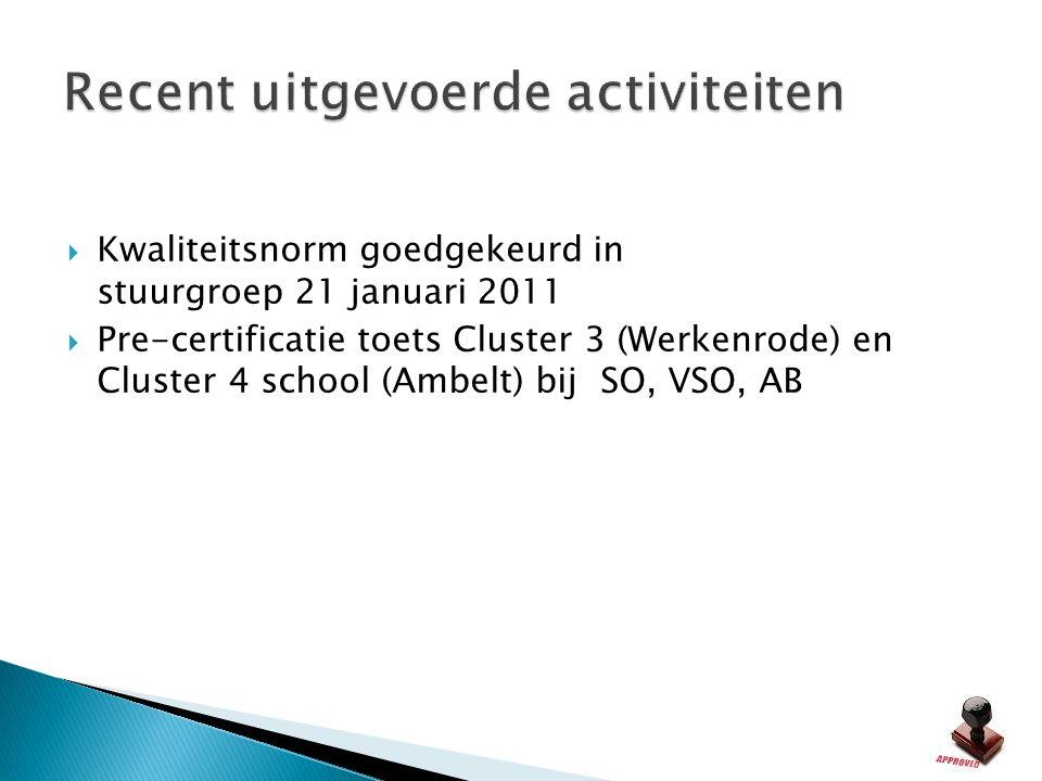  Kwaliteitsnorm goedgekeurd in stuurgroep 21 januari 2011  Pre-certificatie toets Cluster 3 (Werkenrode) en Cluster 4 school (Ambelt) bij SO, VSO, A