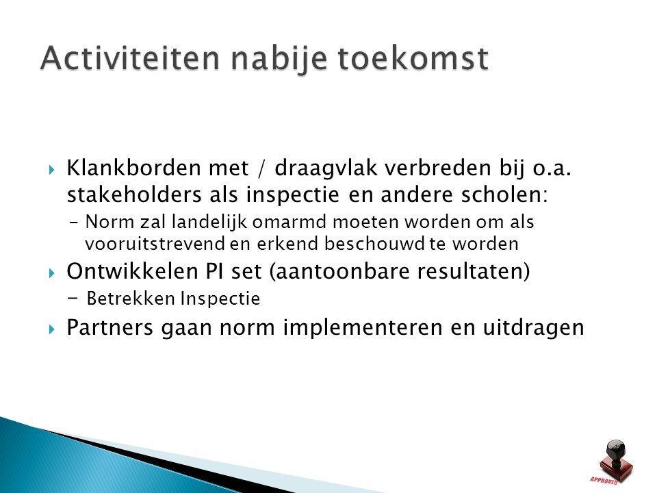  Klankborden met / draagvlak verbreden bij o.a. stakeholders als inspectie en andere scholen: - Norm zal landelijk omarmd moeten worden om als voorui