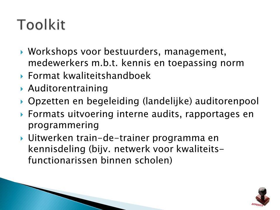  Workshops voor bestuurders, management, medewerkers m.b.t. kennis en toepassing norm  Format kwaliteitshandboek  Auditorentraining  Opzetten en b