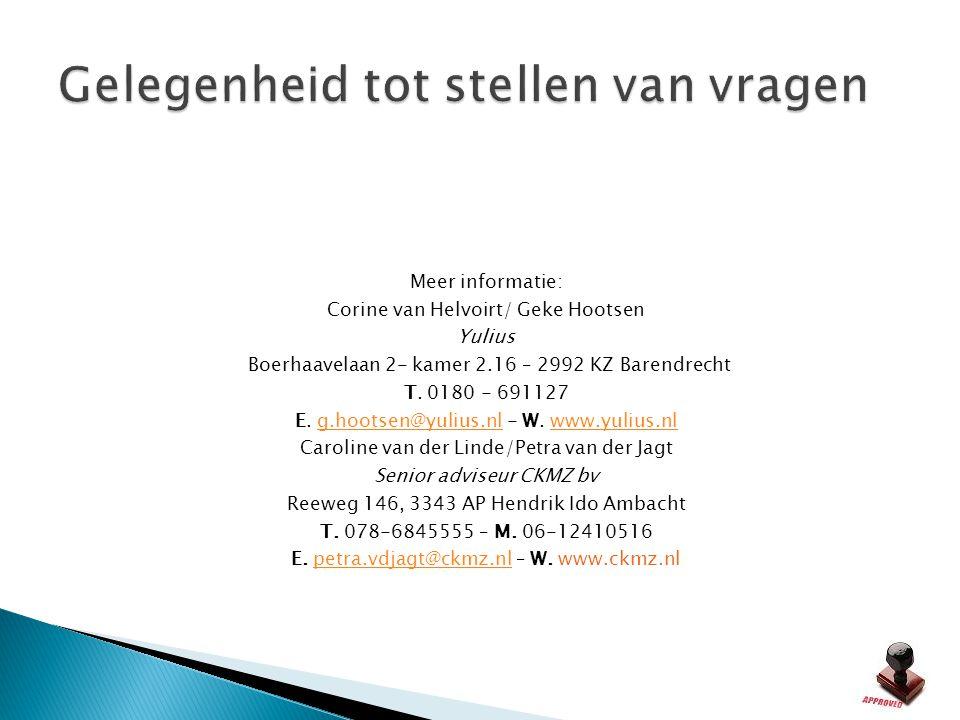 Meer informatie: Corine van Helvoirt/ Geke Hootsen Yulius Boerhaavelaan 2- kamer 2.16 – 2992 KZ Barendrecht T. 0180 - 691127 E. g.hootsen@yulius.nl -
